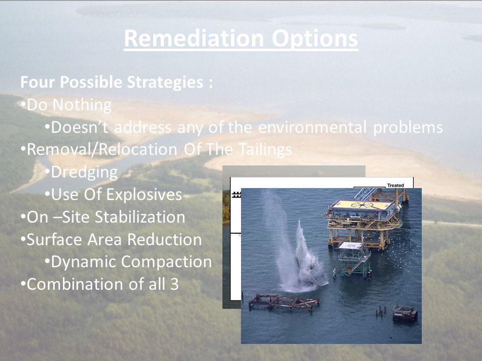 Remediation Options Four Possible Strategies : Do Nothing Doesn't address any of the environmental problems Removal/Relocation Of The Tailings Dredgin