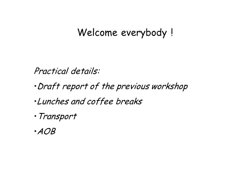 Welcome everybody ! Practical details: Draft report of the previous workshop Lunches and coffee breaks Transport AOB