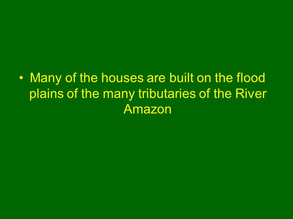 Many of the houses are built on the flood plains of the many tributaries of the River Amazon