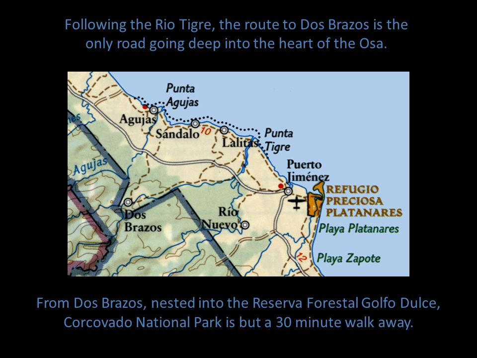Following the Rio Tigre, the route to Dos Brazos is the only road going deep into the heart of the Osa.