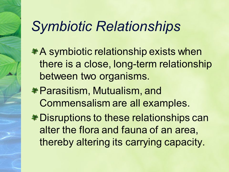 Symbiotic Relationships A symbiotic relationship exists when there is a close, long-term relationship between two organisms.