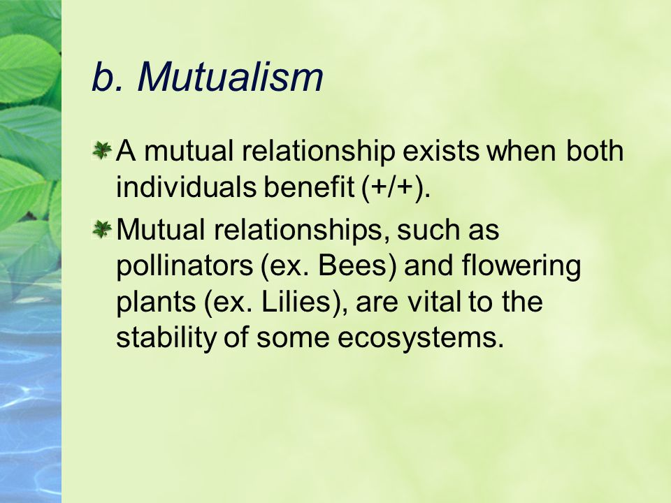 b. Mutualism A mutual relationship exists when both individuals benefit (+/+).