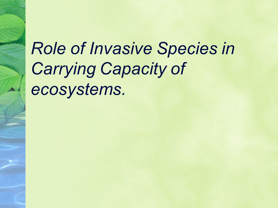 Role of Invasive Species in Carrying Capacity of ecosystems.