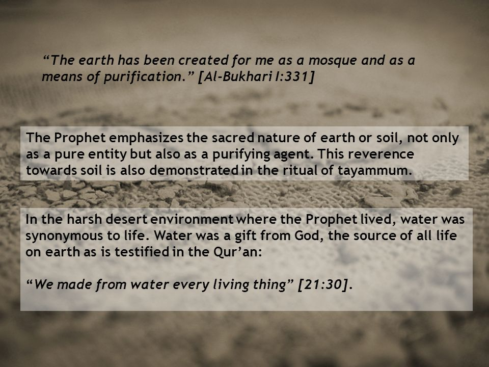 The earth has been created for me as a mosque and as a means of purification. [Al-Bukhari I:331] The Prophet emphasizes the sacred nature of earth or soil, not only as a pure entity but also as a purifying agent.