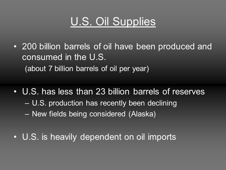 U.S. Oil Supplies 200 billion barrels of oil have been produced and consumed in the U.S.