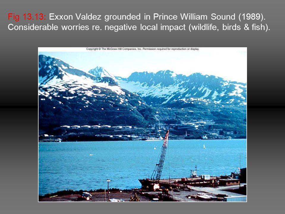 Fig 13.13: Exxon Valdez grounded in Prince William Sound (1989).