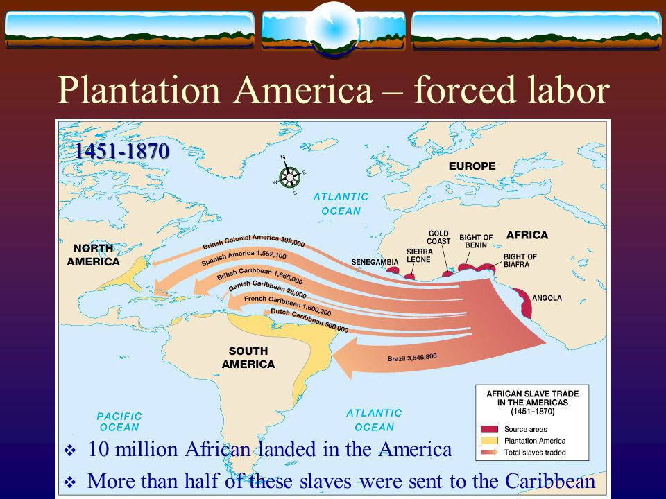 Plantation America – forced labor  10 million African landed in the America  More than half of these slaves were sent to the Caribbean 1451-1870