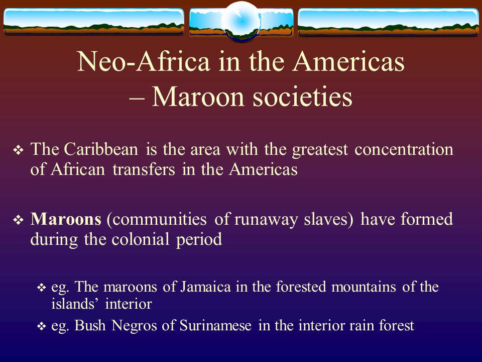 Neo-Africa in the Americas – Maroon societies  The Caribbean is the area with the greatest concentration of African transfers in the Americas  Maroo