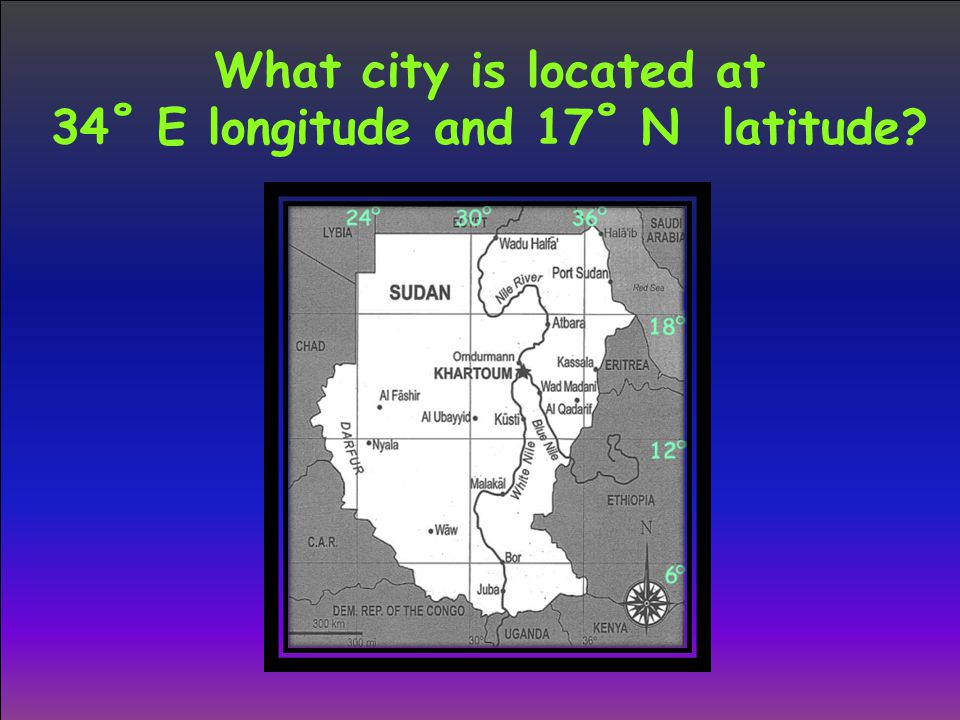 What city is located at 34˚ E longitude and 17˚ N latitude?
