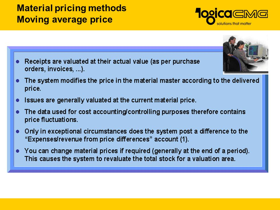 Material pricing methods Moving average price