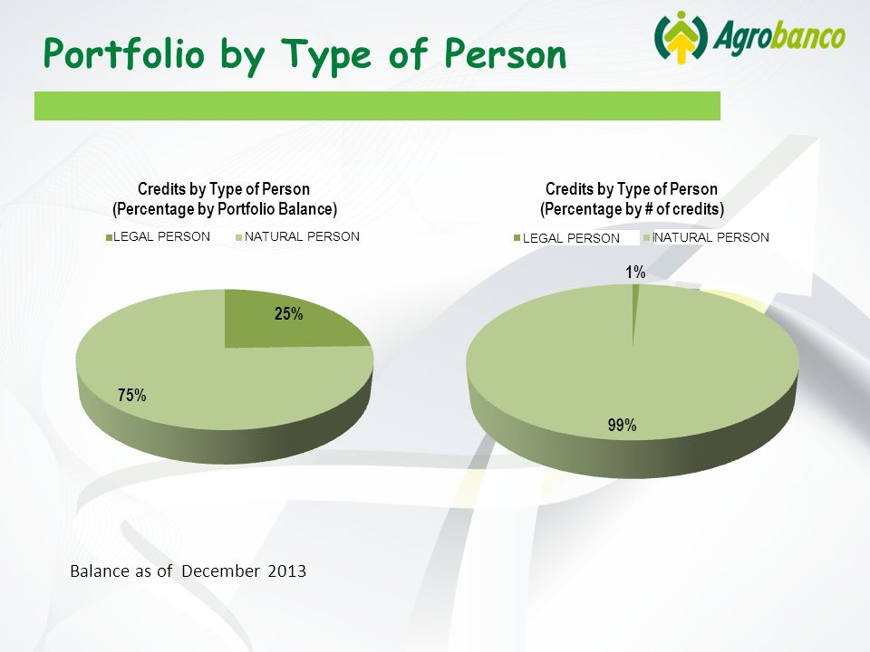Portfolio by Type of Person Balance as of December 2013 LEGAL PERSON NATURAL PERSON LEGAL PERSON NATURAL PERSON