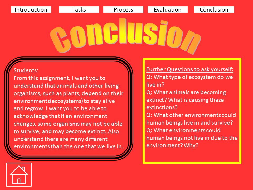 IntroductionTasksProcessEvaluationConclusion Students: From this assignment, I want you to understand that animals and other living organisms, such as