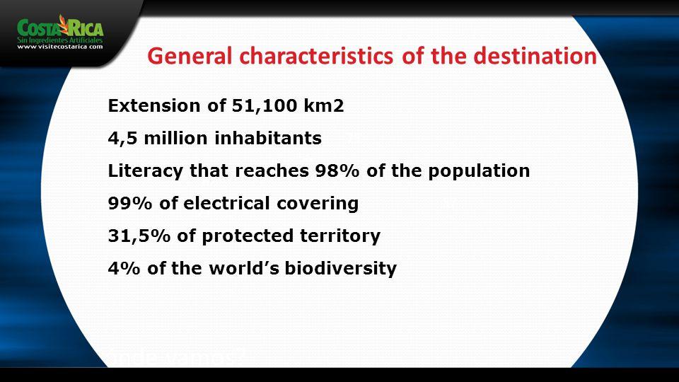 ¿Hacia dónde vamos? General characteristics of the destination 79 62 57 56 46 23 Extension of 51,100 km2 4,5 million inhabitants Literacy that reaches