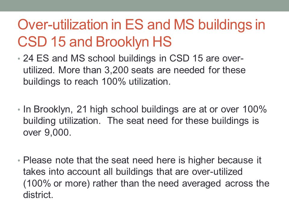 Over-utilization in ES and MS buildings in CSD 15 and Brooklyn HS 24 ES and MS school buildings in CSD 15 are over- utilized.