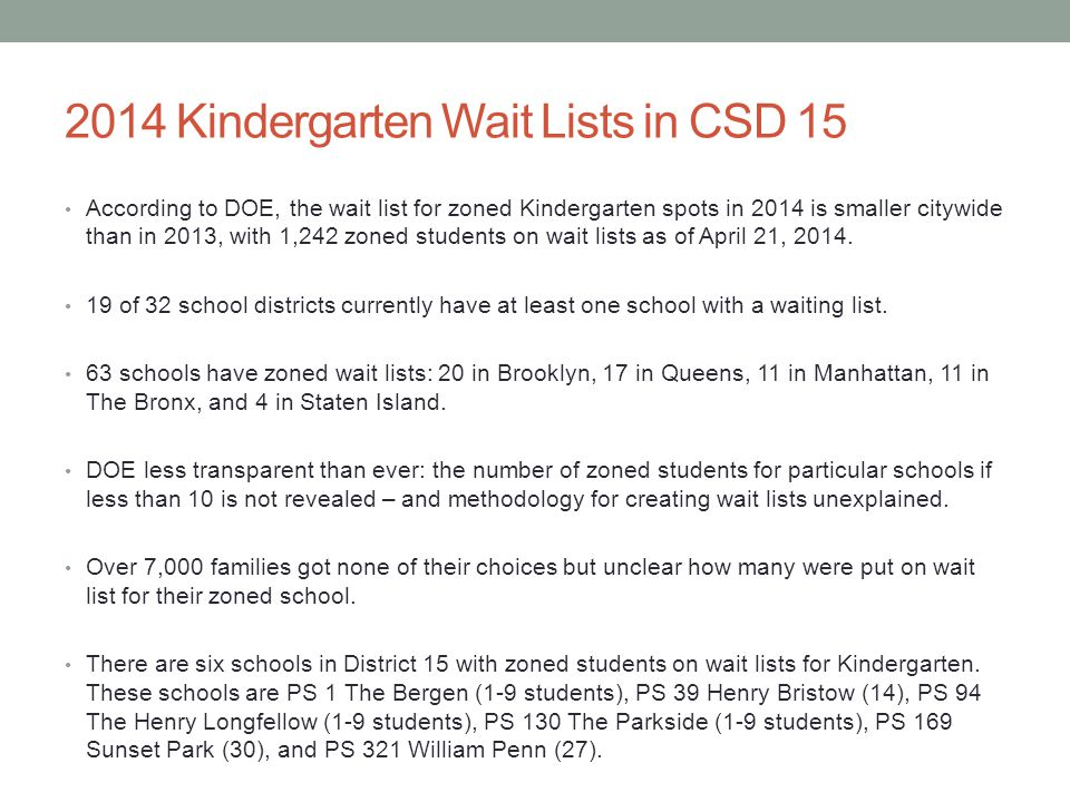 2014 Kindergarten Wait Lists in CSD 15 According to DOE, the wait list for zoned Kindergarten spots in 2014 is smaller citywide than in 2013, with 1,242 zoned students on wait lists as of April 21, 2014.