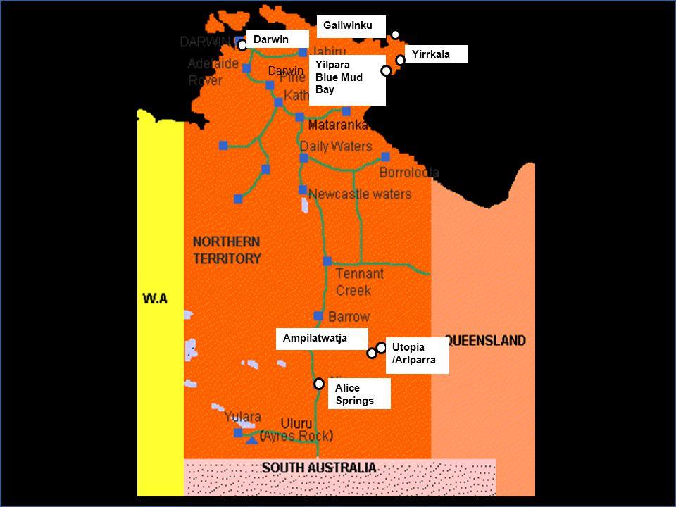 Darwin Yirrkala Utopia /Arlparra Ampilatwatja Darwin Alice Springs Yilpara Blue Mud Bay Galiwinku