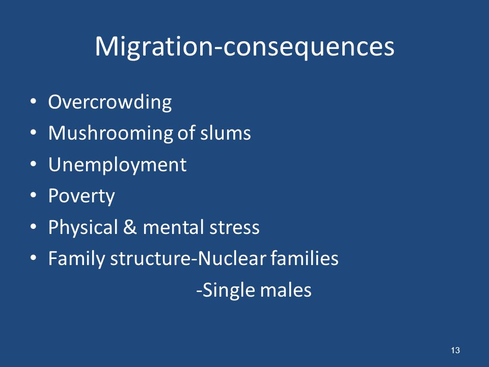 Migration-consequences Overcrowding Mushrooming of slums Unemployment Poverty Physical & mental stress Family structure-Nuclear families -Single males 13