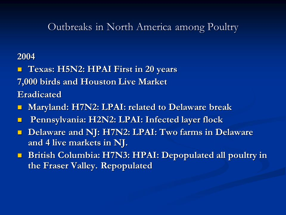 Outbreaks in North America among Poultry 2004 Texas: H5N2: HPAI First in 20 years Texas: H5N2: HPAI First in 20 years 7,000 birds and Houston Live Market Eradicated Maryland: H7N2: LPAI: related to Delaware break Maryland: H7N2: LPAI: related to Delaware break Pennsylvania: H2N2: LPAI: Infected layer flock Pennsylvania: H2N2: LPAI: Infected layer flock Delaware and NJ: H7N2: LPAI: Two farms in Delaware and 4 live markets in NJ.