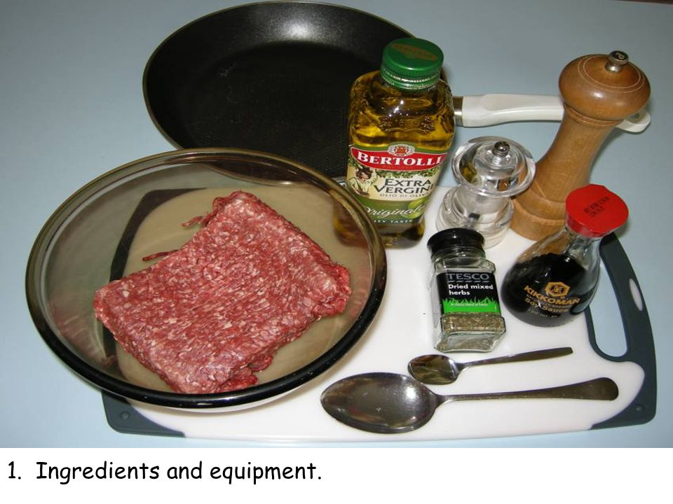 1. Ingredients and equipment.