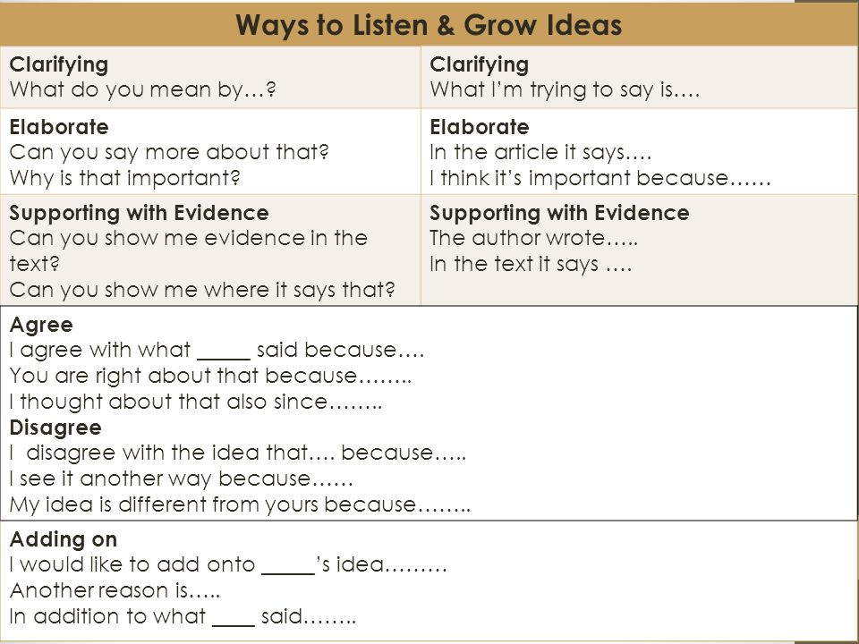 Ways to Listen & Grow Ideas Clarifying What do you mean by….