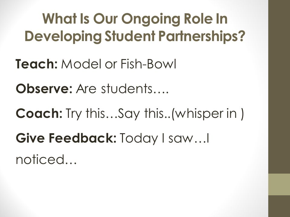 What Is Our Ongoing Role In Developing Student Partnerships.