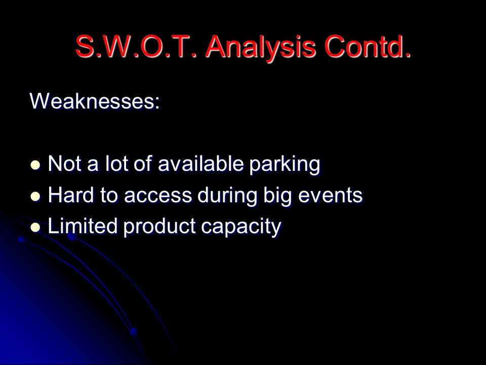 S.W.O.T.Analysis Contd.