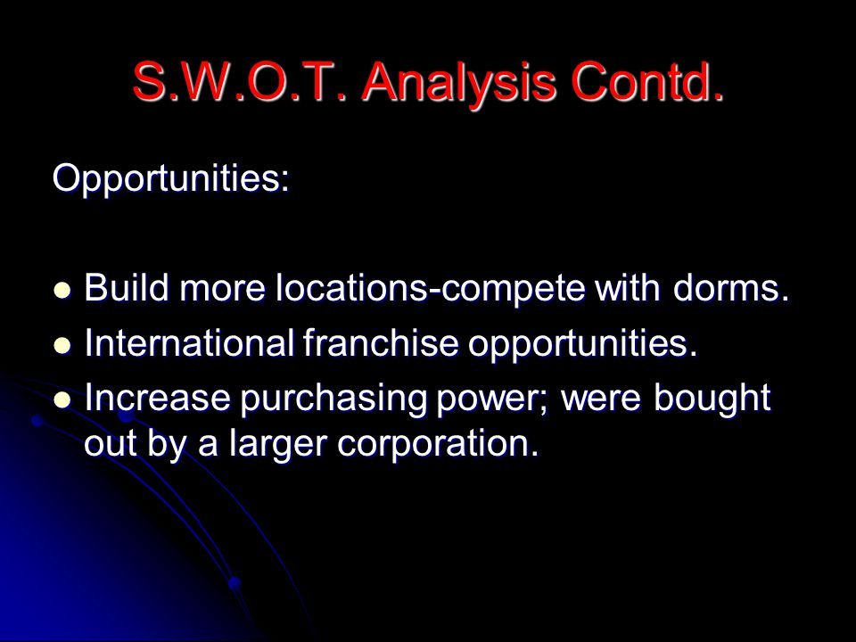 S.W.O.T.Analysis Contd. Opportunities: Build more locations-compete with dorms.