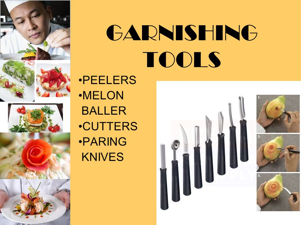 GARNISHING TOOLS PEELERS MELON BALLER CUTTERS PARING KNIVES