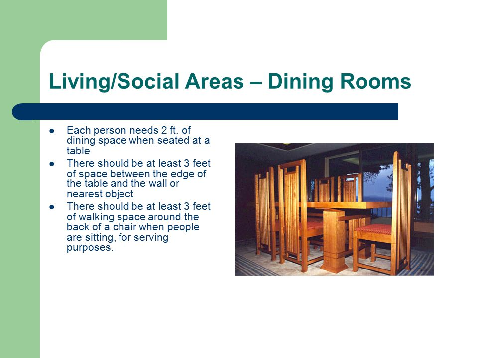 Living/Social Areas – Dining Rooms Each person needs 2 ft.