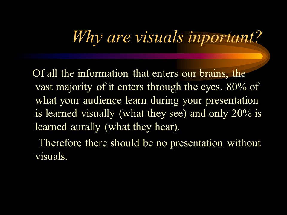 Introduction In this unit you will learn why we need to visualise what we say during a presentation.