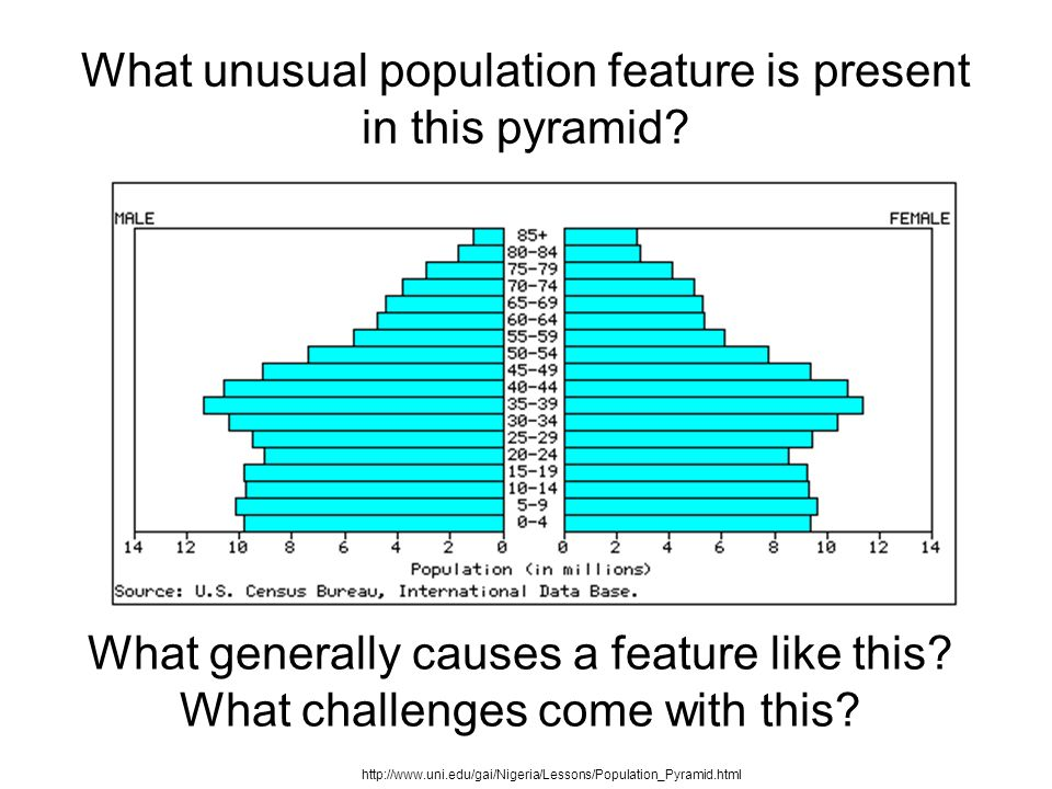 What unusual population feature is present in this pyramid.