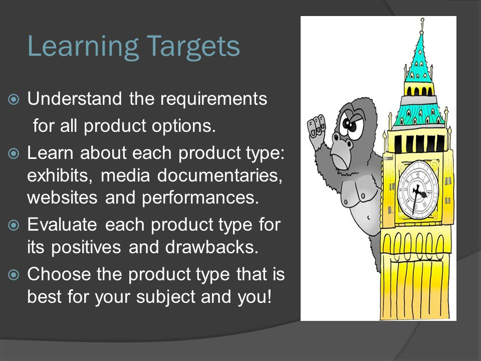 Learning Targets  Understand the requirements for all product options.