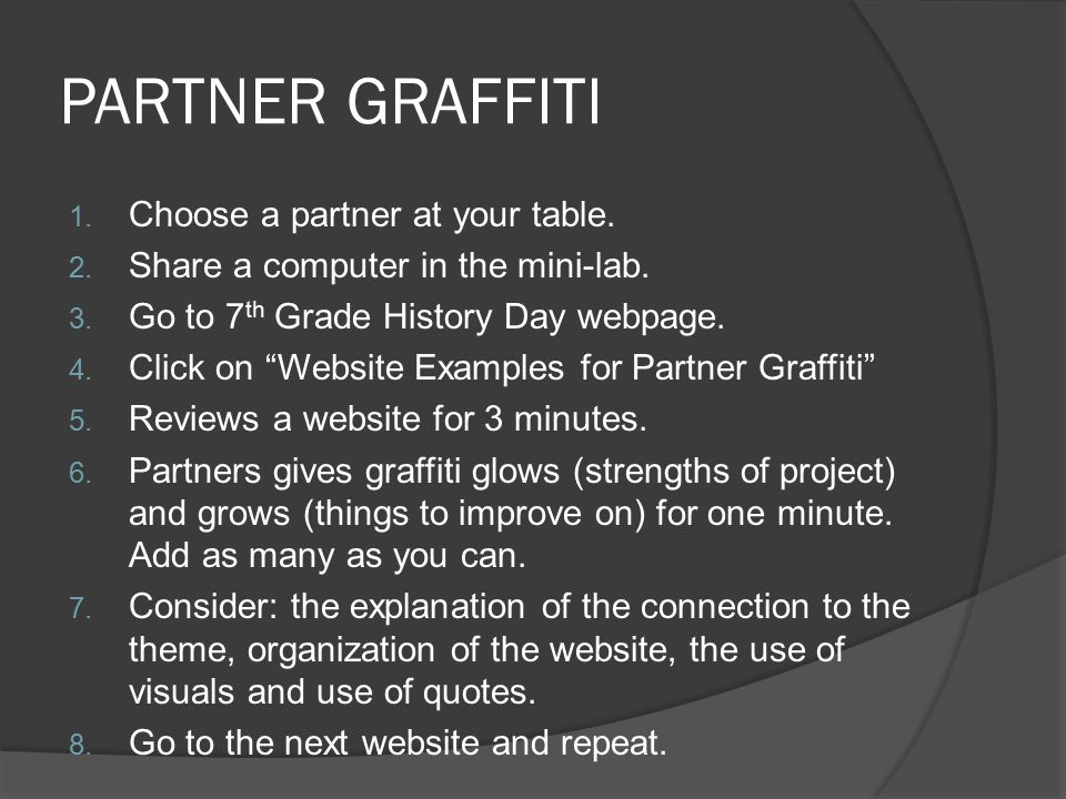 PARTNER GRAFFITI 1. Choose a partner at your table.
