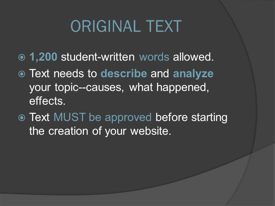  1,200 student-written words allowed.
