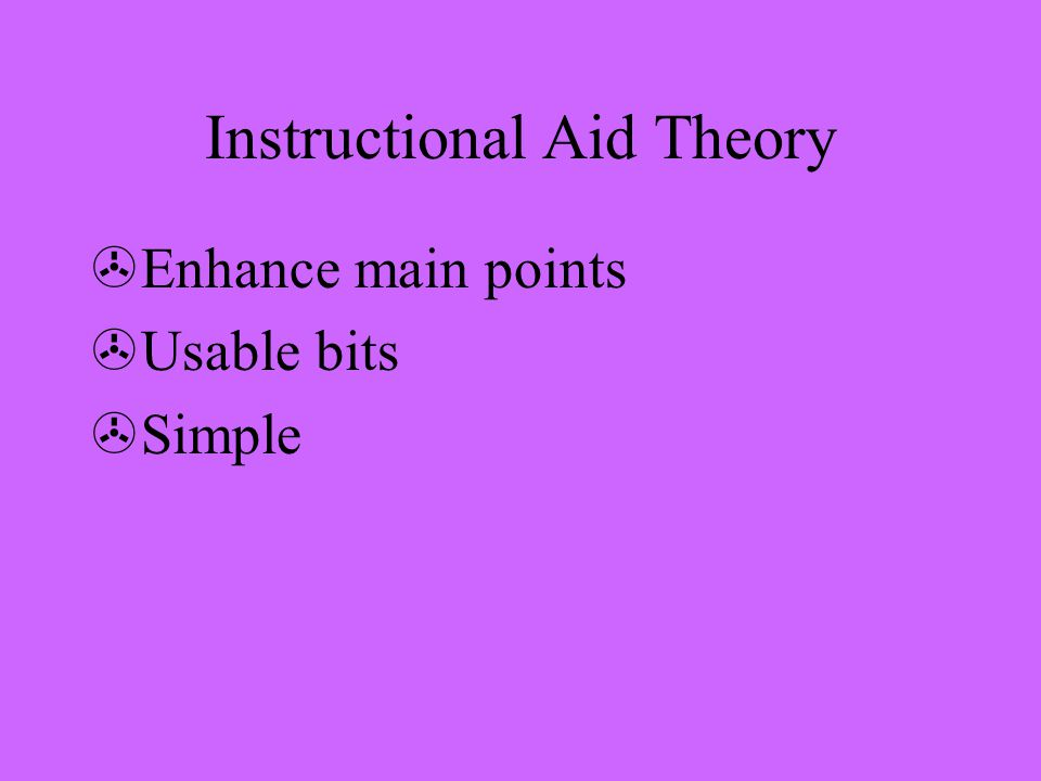 Instructional Aid Theory >Enhance main points >Usable bits >Simple