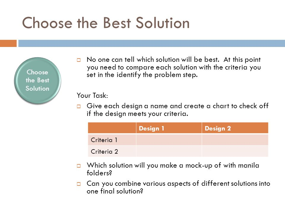 Choose the Best Solution  No one can tell which solution will be best.