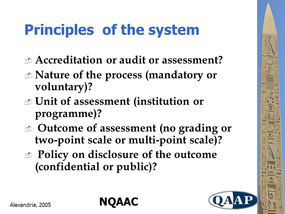 Alexandria, 2005 NQAAC Principles of the system  Accreditation or audit or assessment.