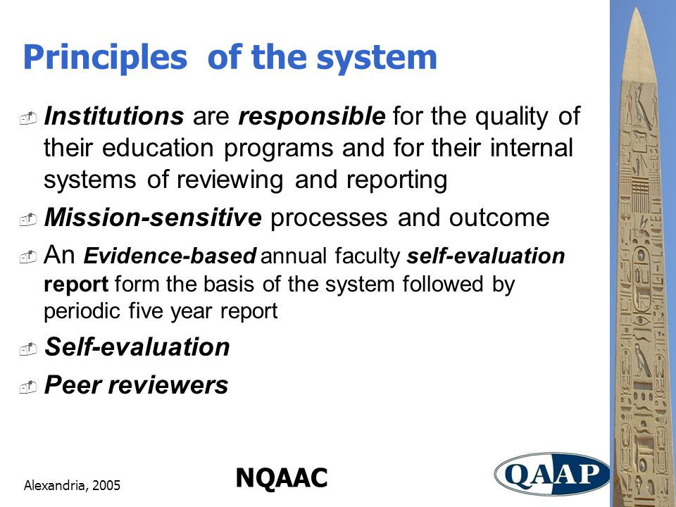 Alexandria, 2005 NQAAC  Institutions are responsible for the quality of their education programs and for their internal systems of reviewing and reporting  Mission-sensitive processes and outcome  An Evidence-based annual faculty self-evaluation report form the basis of the system followed by periodic five year report  Self-evaluation  Peer reviewers Principles of the system