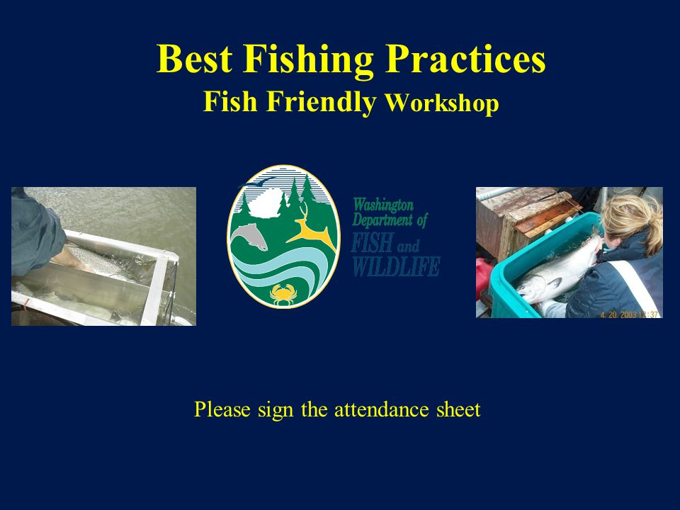 Best Fishing Practices Fish Friendly Workshop Please sign the attendance sheet