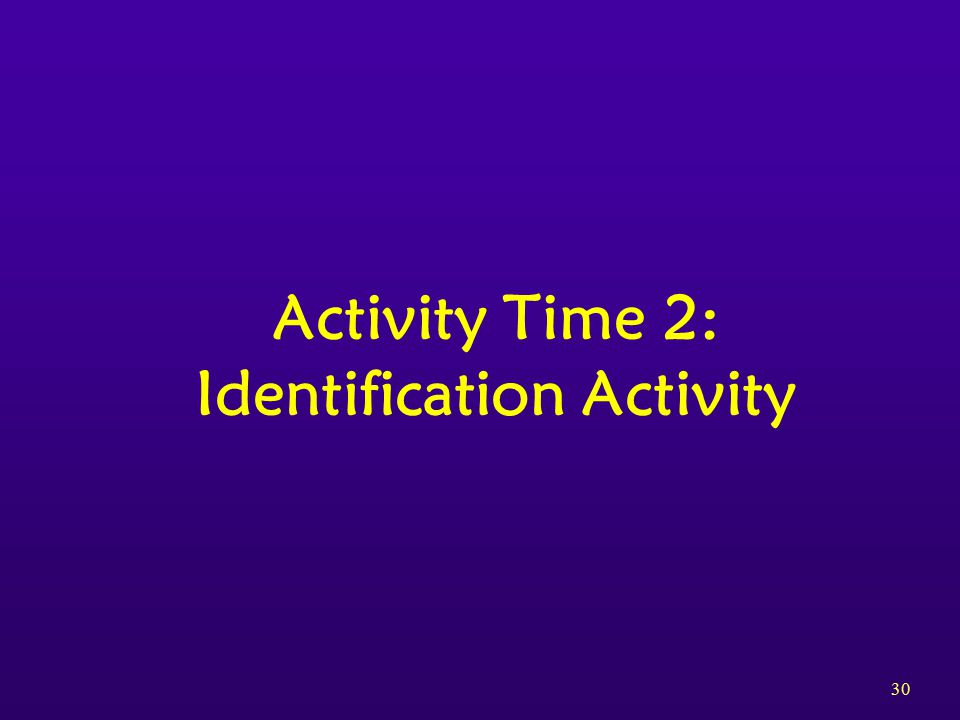 30 Activity Time 2: Identification Activity