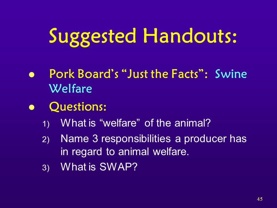 45 Suggested Handouts: l Pork Board's Just the Facts : Swine Welfare l Questions: 1) What is welfare of the animal.