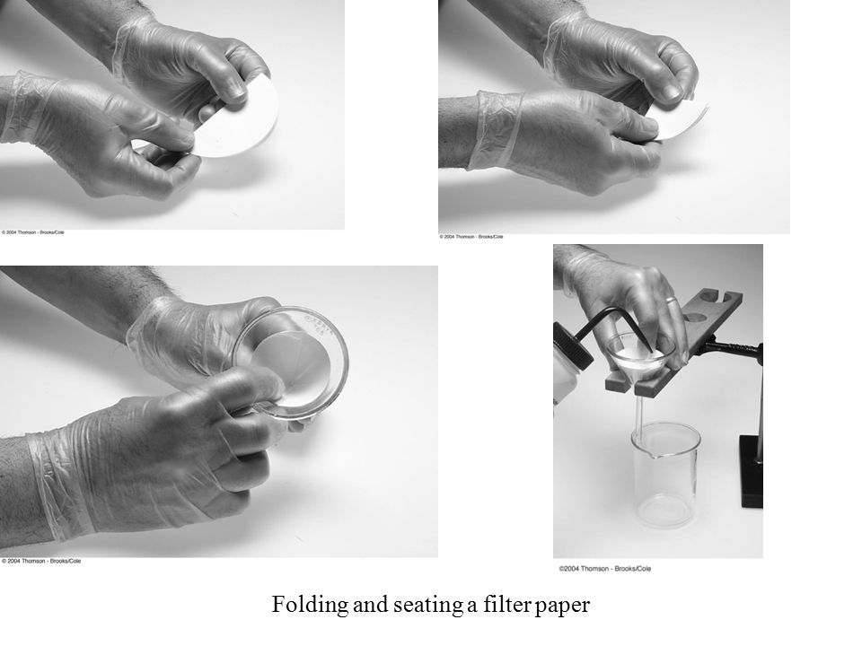 Folding and seating a filter paper
