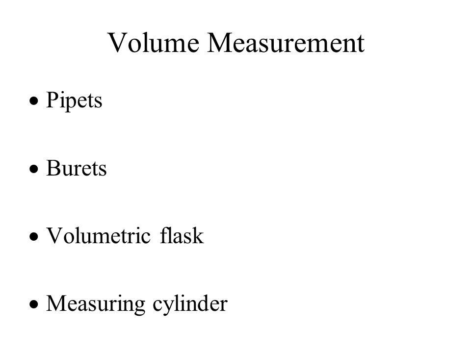 Volume Measurement  Pipets  Burets  Volumetric flask  Measuring cylinder