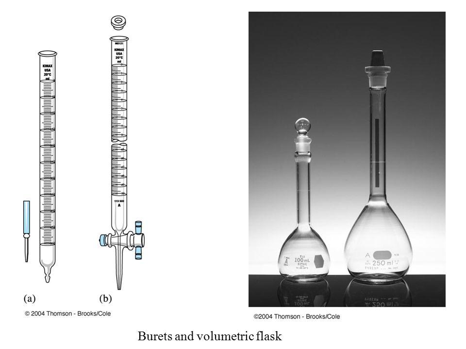 Burets and volumetric flask