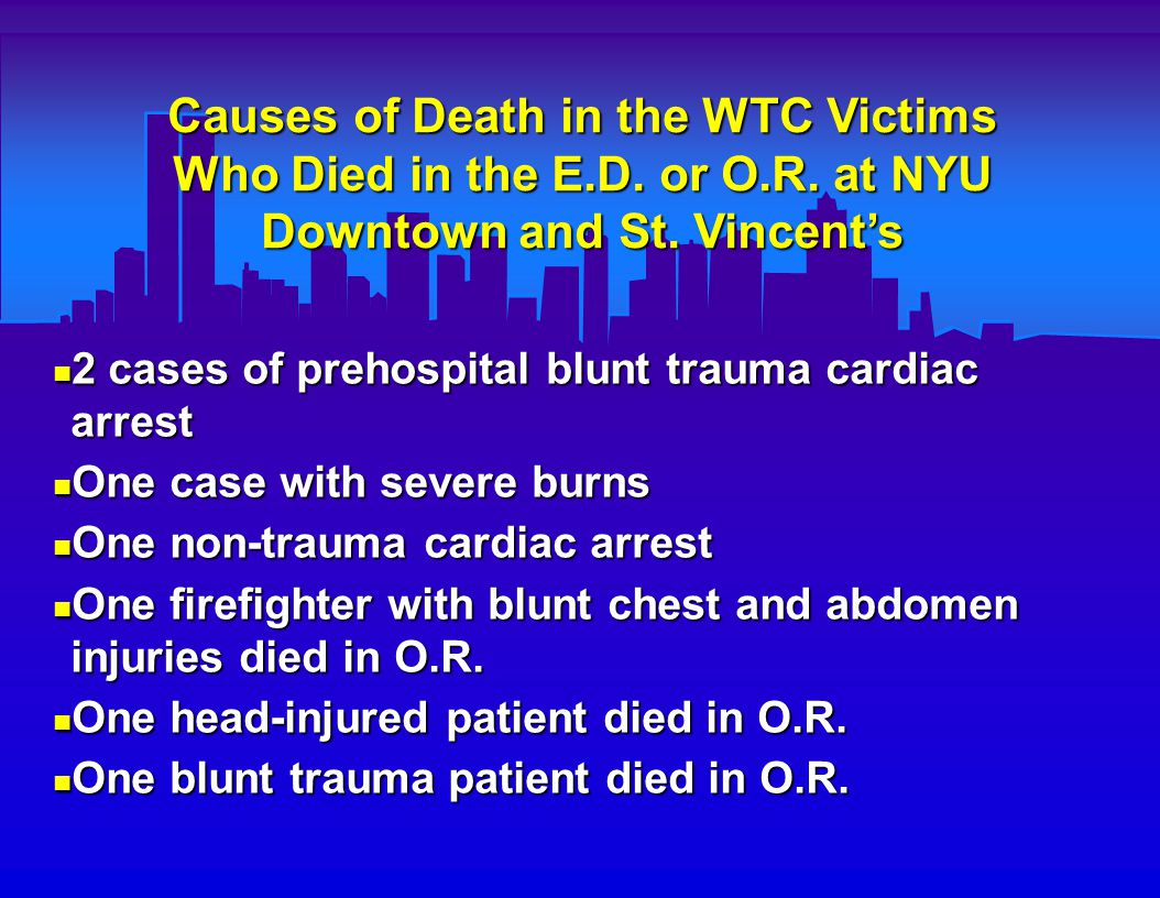 Causes of Death in the WTC Victims Who Died in the E.D.