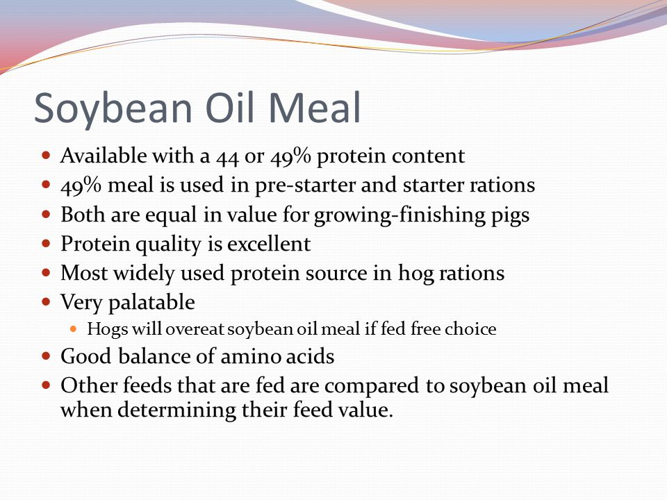 Soybean Oil Meal Available with a 44 or 49% protein content 49% meal is used in pre-starter and starter rations Both are equal in value for growing-fi