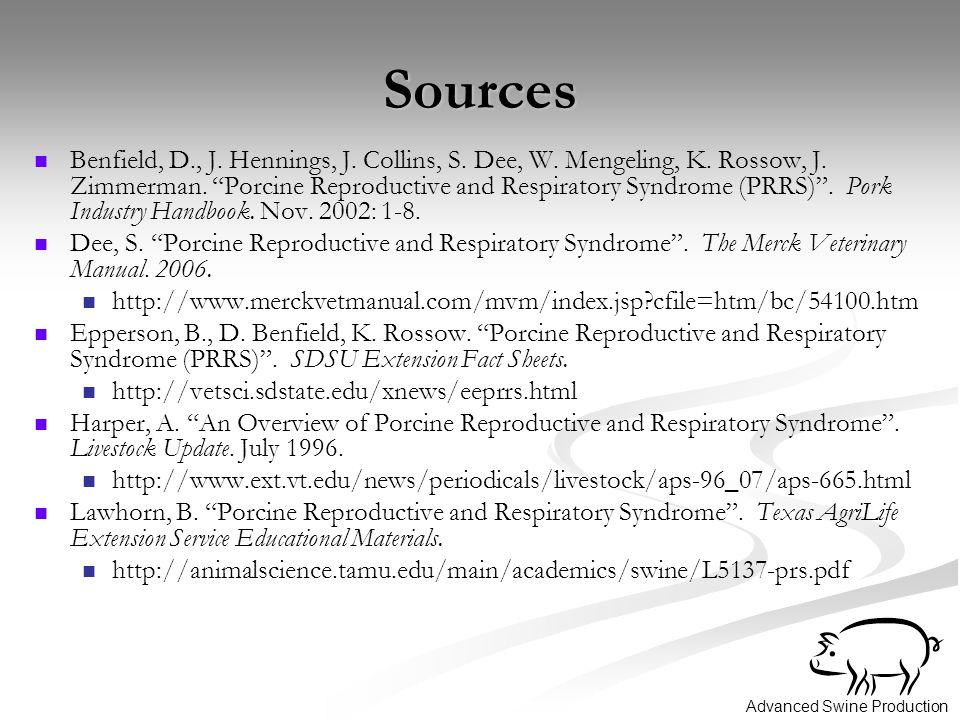 Advanced Swine Production Sources Benfield, D., J.