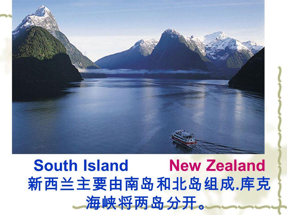 South Island New Zealand 新西兰主要由南岛和北岛组成. 库克 海峡将两岛分开。