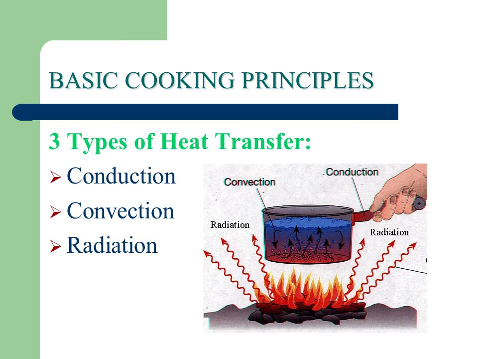 BASIC COOKING PRINCIPLES 3 Types of Heat Transfer:  Conduction  Convection  Radiation