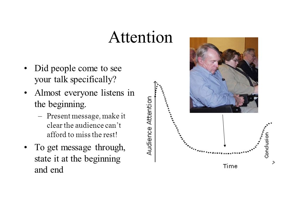 Attention Did people come to see your talk specifically? Almost everyone listens in the beginning. –Present message, make it clear the audience can't